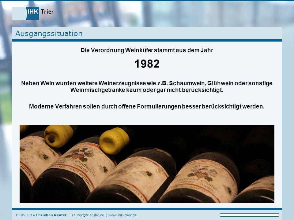 Die Verordnung Weinküfer stammt aus dem Jahr