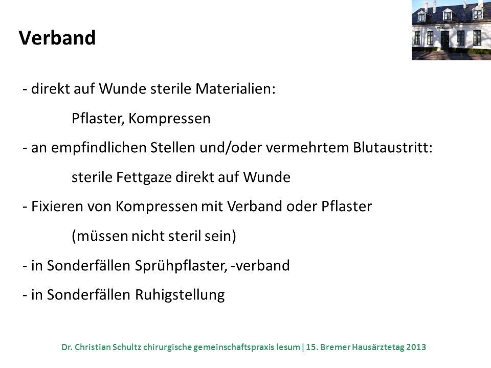Verband - direkt auf Wunde sterile Materialien: Pflaster, Kompressen