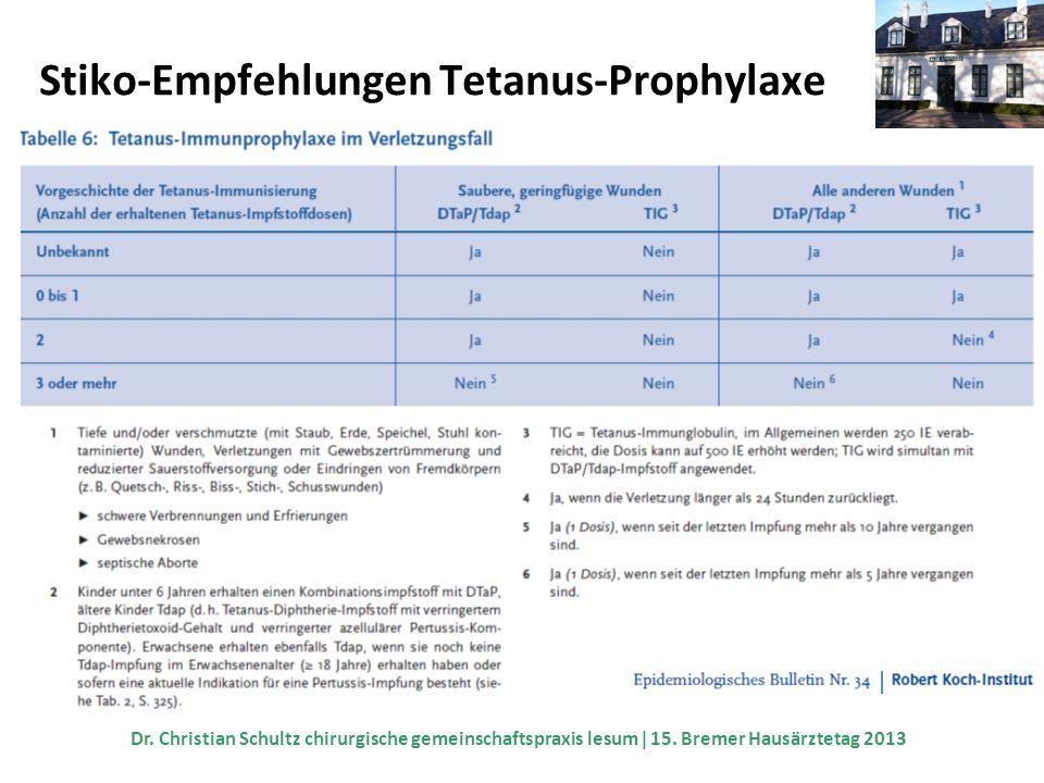 Stiko-Empfehlungen Tetanus-Prophylaxe