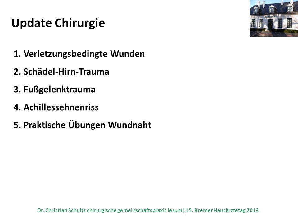 Update Chirurgie 1. Verletzungsbedingte Wunden 2. Schädel-Hirn-Trauma