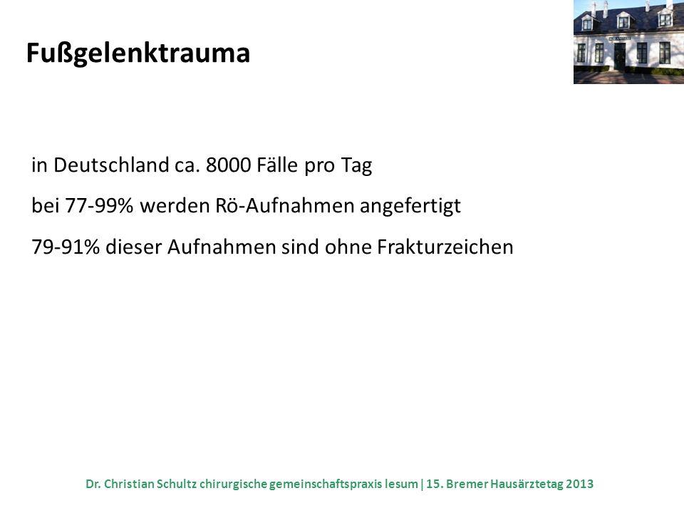 Fußgelenktrauma in Deutschland ca. 8000 Fälle pro Tag