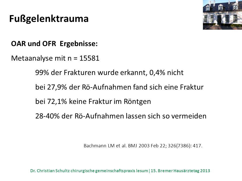 Fußgelenktrauma OAR und OFR Ergebnisse: Metaanalyse mit n = 15581