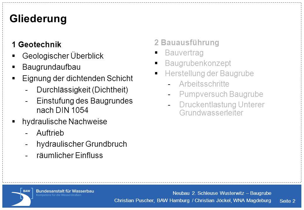 Gliederung 2 Bauausführung 1 Geotechnik Bauvertrag