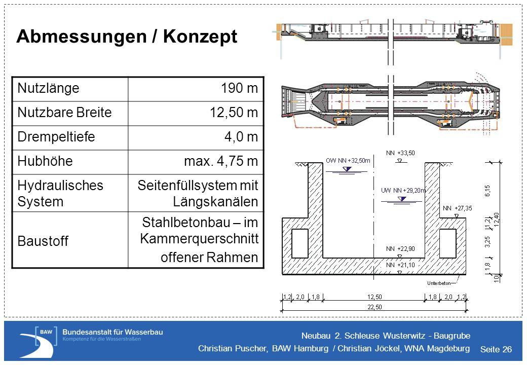 Abmessungen / Konzept Nutzlänge 190 m Nutzbare Breite 12,50 m