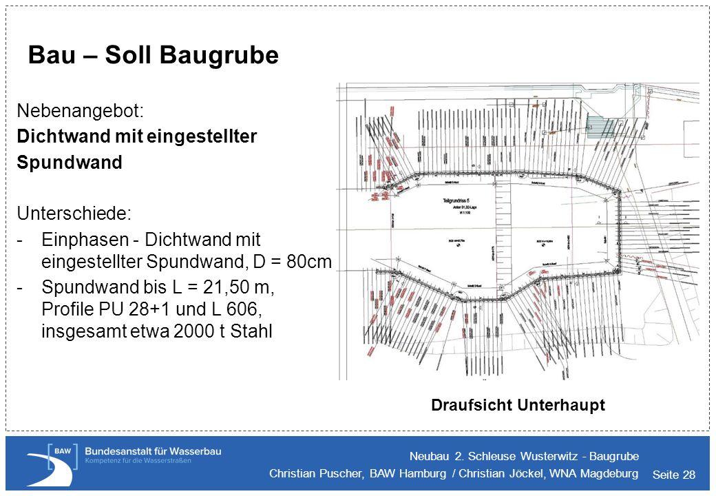 Bau – Soll Baugrube Nebenangebot: Dichtwand mit eingestellter