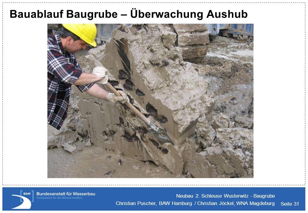 Bauablauf Baugrube – Überwachung Aushub