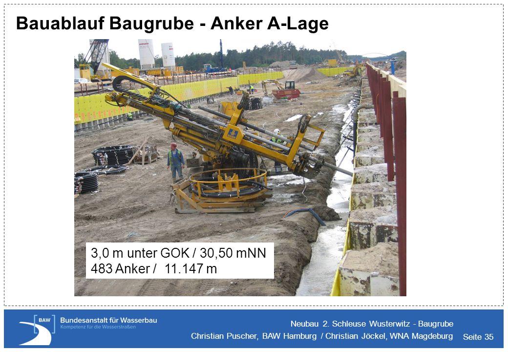 Bauablauf Baugrube - Anker A-Lage