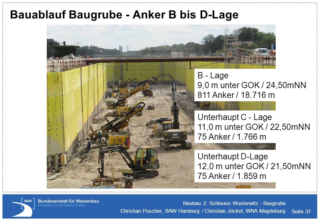 Bauablauf Baugrube - Anker B bis D-Lage
