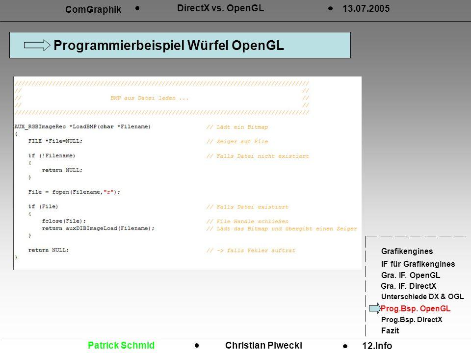Programmierbeispiel Würfel OpenGL