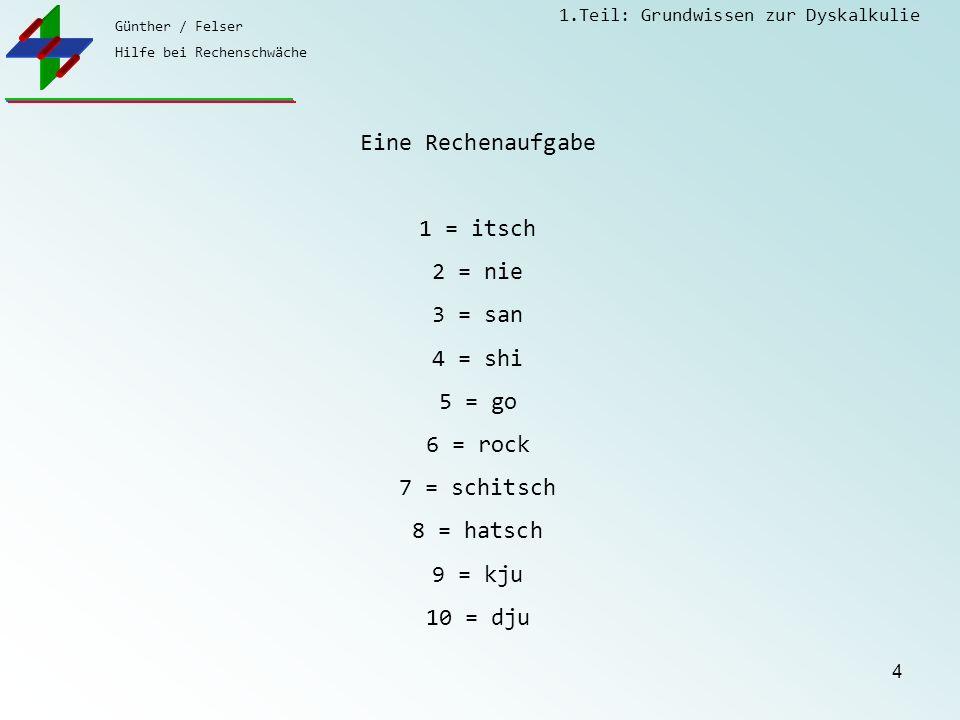 Eine Rechenaufgabe 1 = itsch. 2 = nie. 3 = san. 4 = shi. 5 = go. 6 = rock. 7 = schitsch. 8 = hatsch.