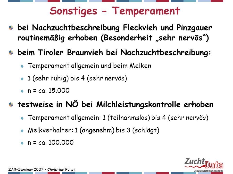 Sonstiges - Temperament