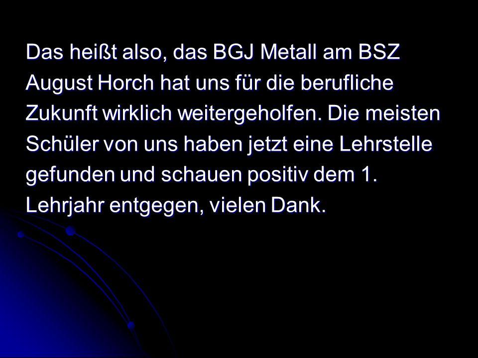 Das heißt also, das BGJ Metall am BSZ