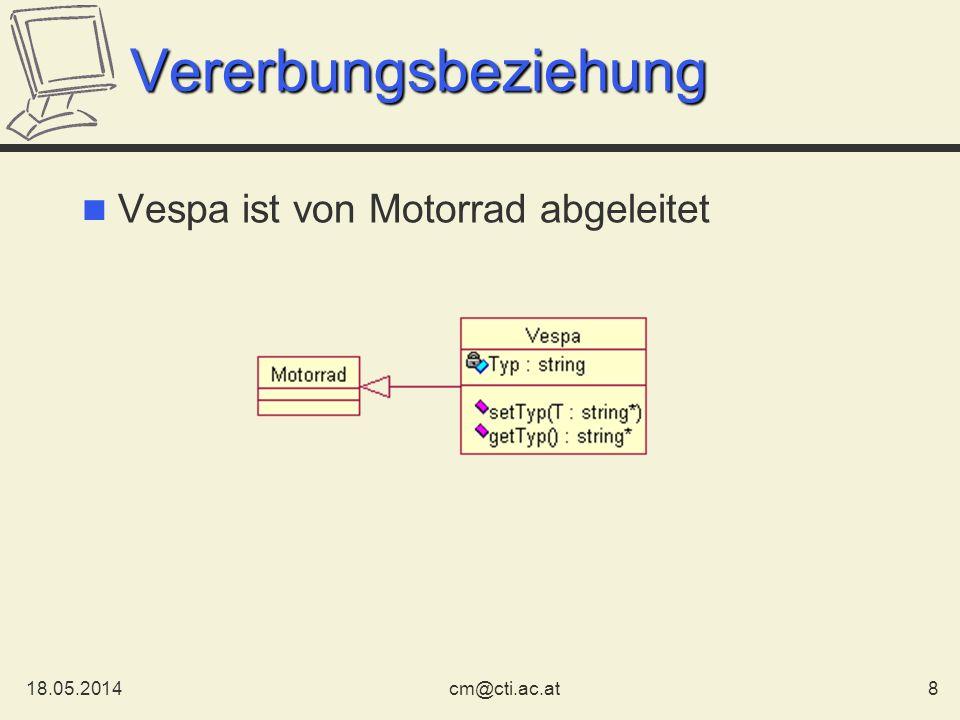 Vererbungsbeziehung Vespa ist von Motorrad abgeleitet 31.03.2017