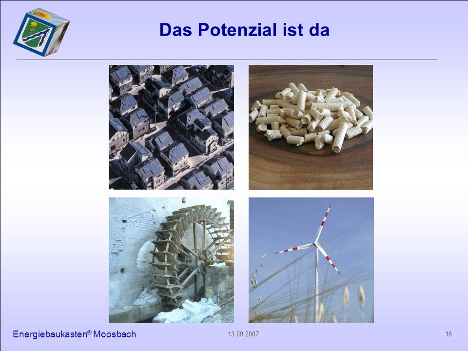 Das Potenzial ist da Energiebaukasten® Moosbach 13.09.2007