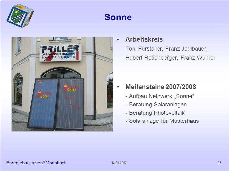 Sonne Arbeitskreis. Toni Fürstaller, Franz Jodlbauer, Hubert Rosenberger, Franz Wührer. Meilensteine 2007/2008.