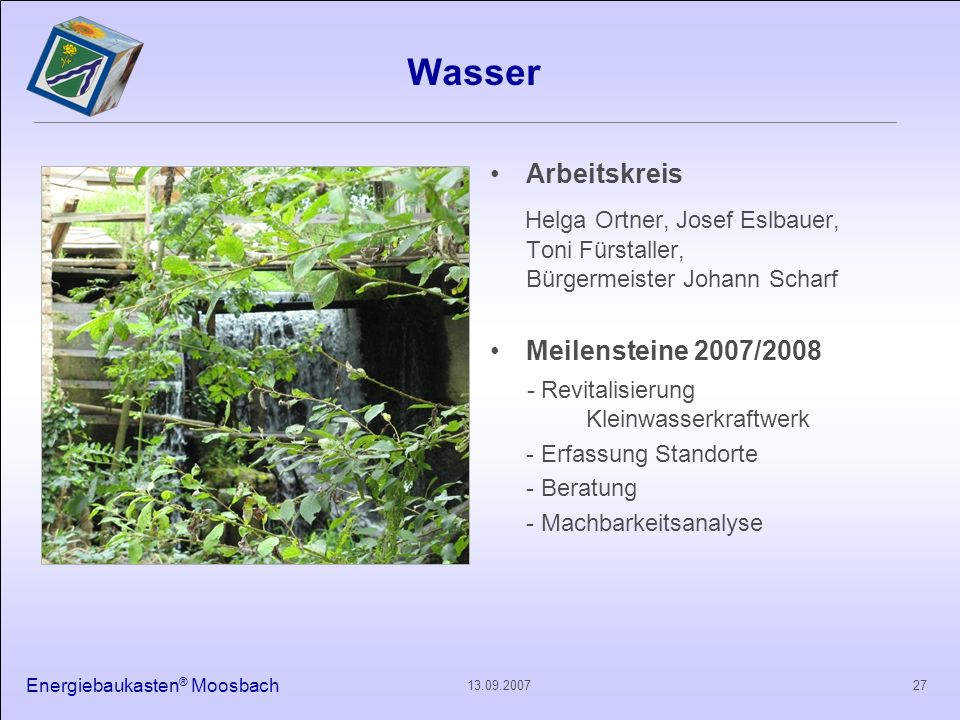 Wasser Arbeitskreis. Helga Ortner, Josef Eslbauer, Toni Fürstaller, Bürgermeister Johann Scharf.