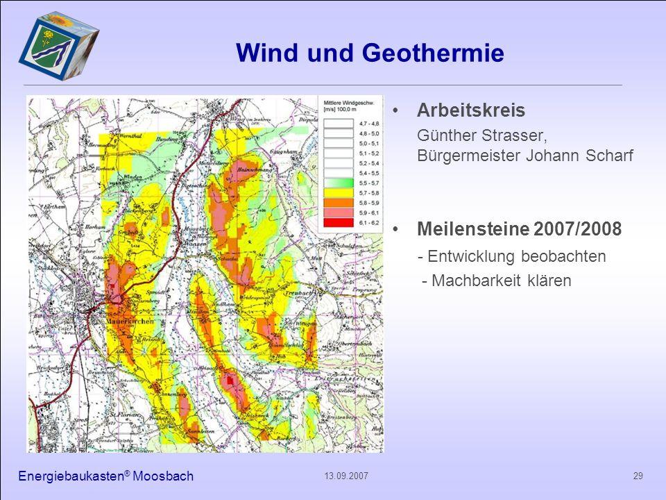 Wind und Geothermie Arbeitskreis Meilensteine 2007/2008