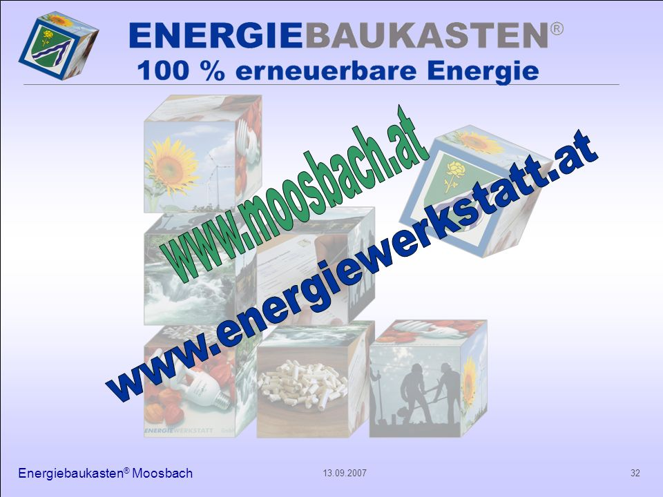 www.moosbach.at www.energiewerkstatt.at Energiebaukasten® Moosbach