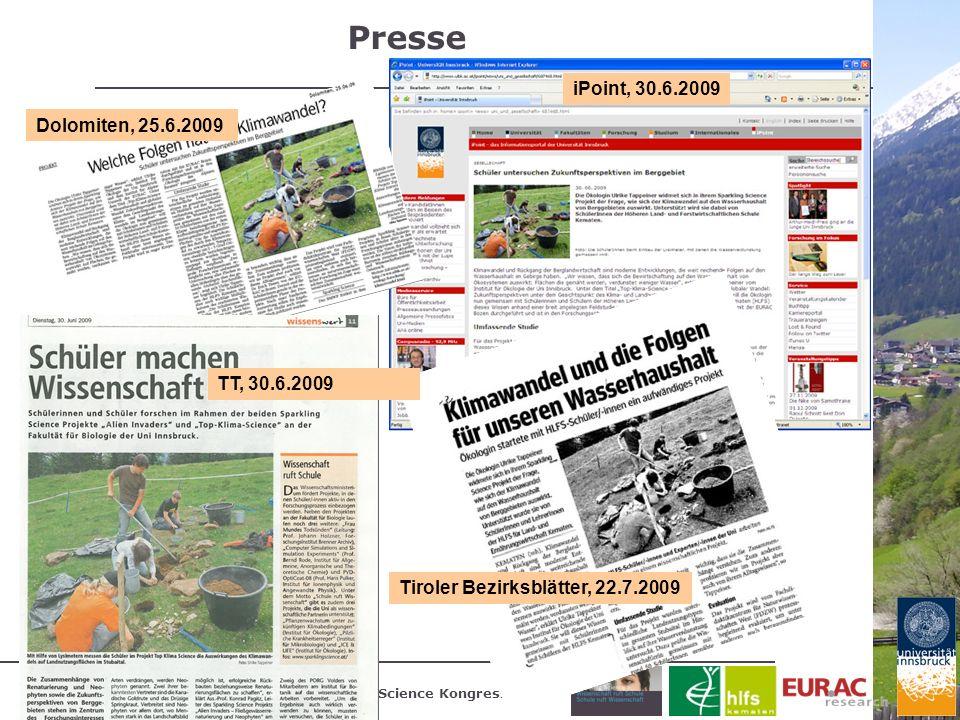 Presse iPoint, 30.6.2009 Dolomiten, 25.6.2009 TT, 30.6.2009