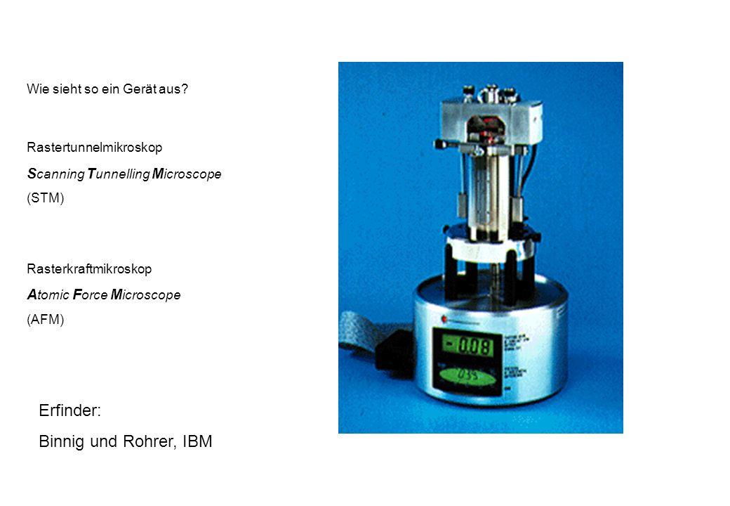 Erfinder: Binnig und Rohrer, IBM Scanning Tunnelling Microscope