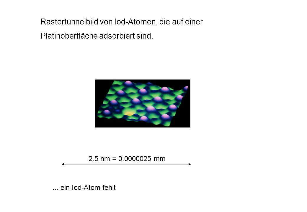 Rastertunnelbild von Iod-Atomen, die auf einer
