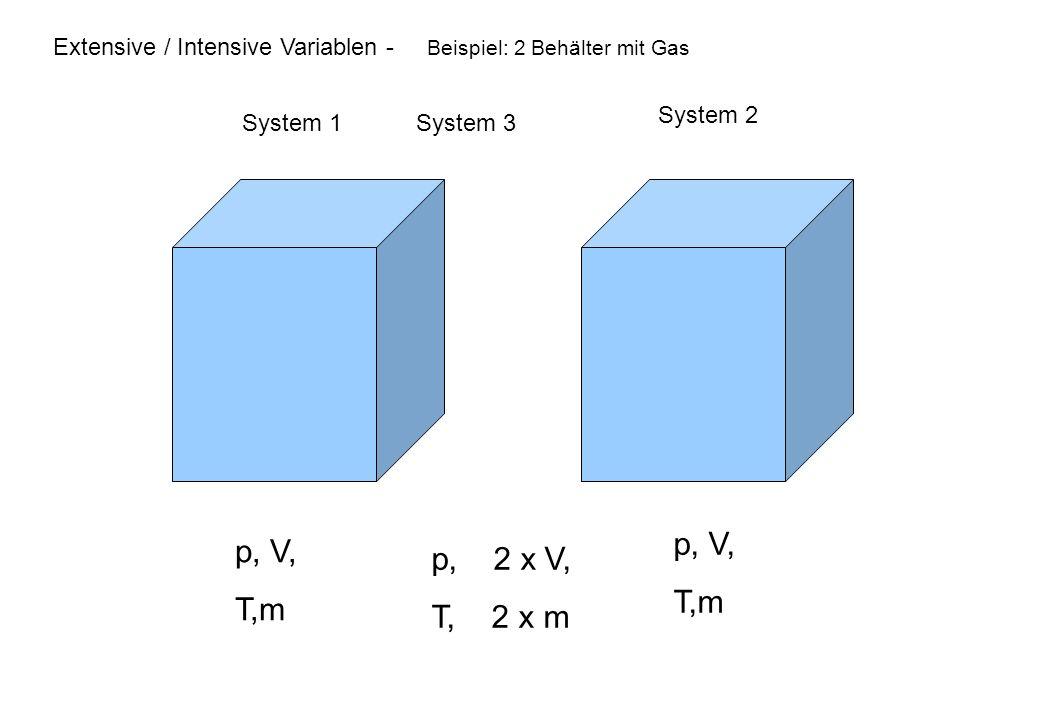 Extensive / Intensive Variablen - Beispiel: 2 Behälter mit Gas