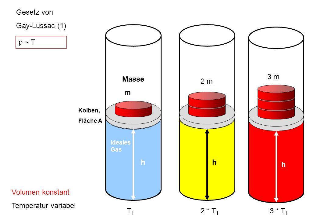 Gesetz von Gay-Lussac (1) h Masse m T1 2 m h 2 * T1 3 m h 3 * T1 p ~ T