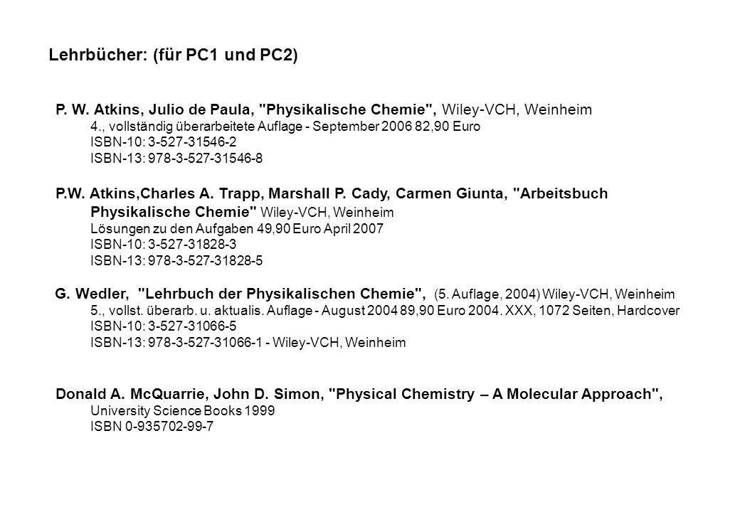 Lehrbücher: (für PC1 und PC2)