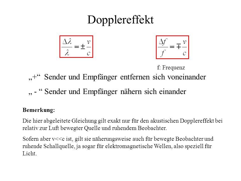"""Dopplereffekt """"+ Sender und Empfänger entfernen sich voneinander"""