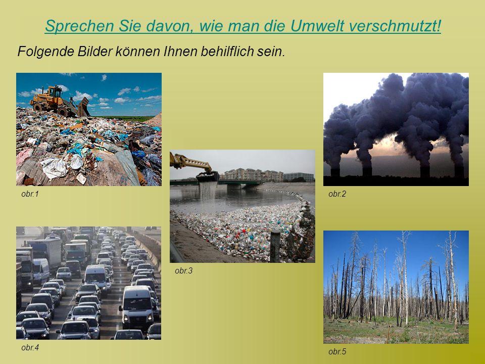 Sprechen Sie davon, wie man die Umwelt verschmutzt!