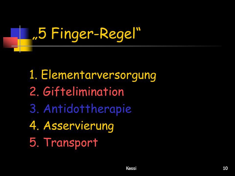 """5 Finger-Regel 1. Elementarversorgung 2. Giftelimination"