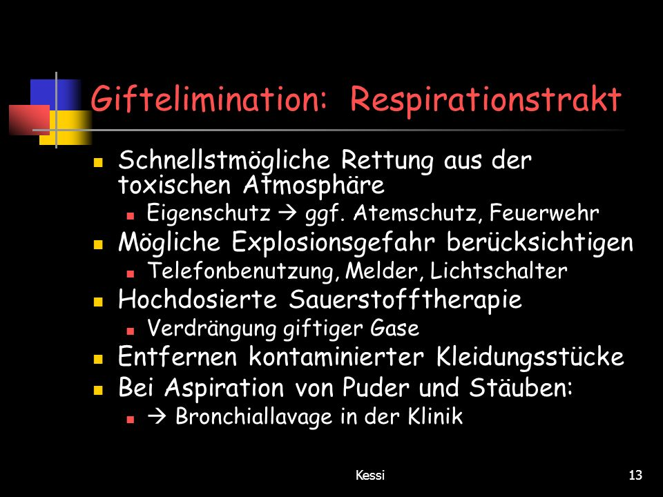 Giftelimination: Respirationstrakt