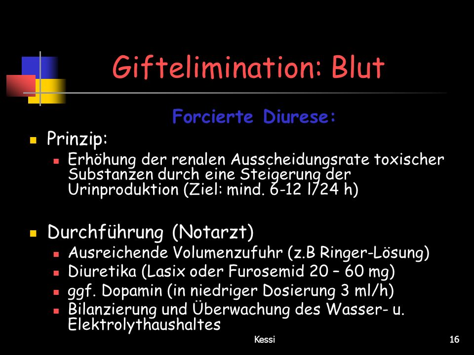 Giftelimination: Blut