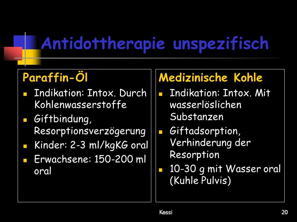 Antidottherapie unspezifisch