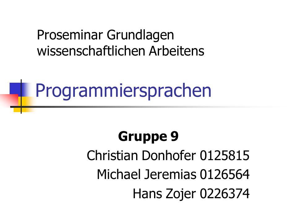 Programmiersprachen Proseminar Grundlagen wissenschaftlichen Arbeitens