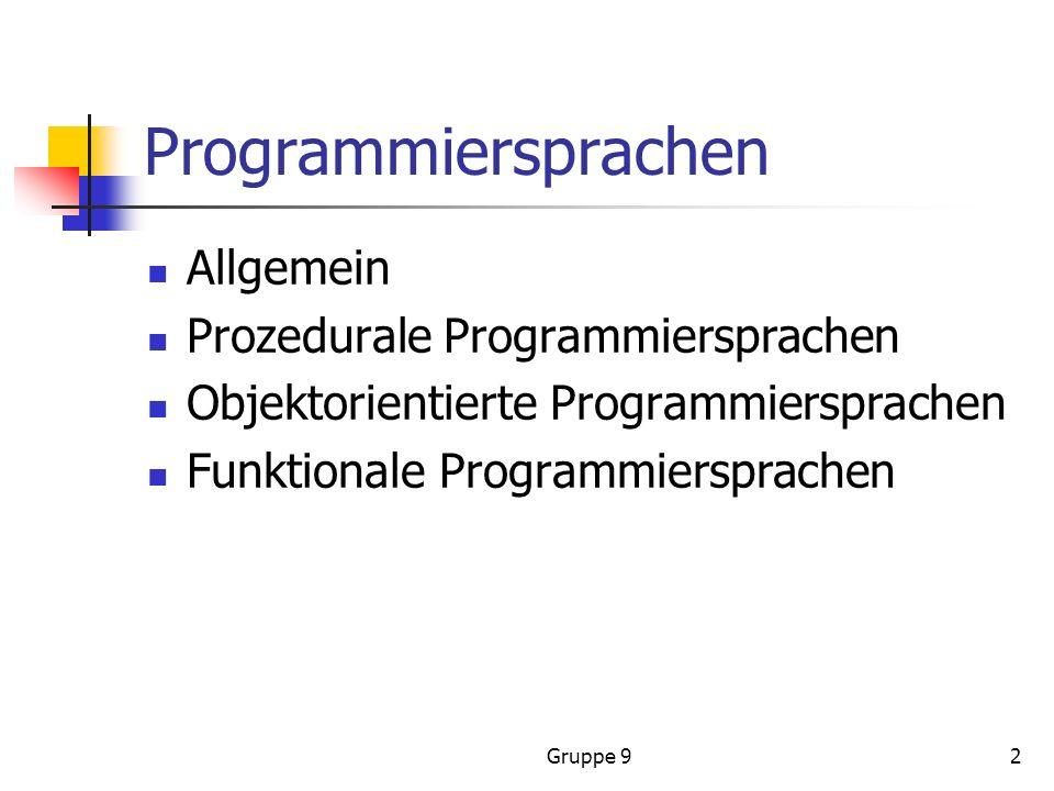 Programmiersprachen Allgemein Prozedurale Programmiersprachen