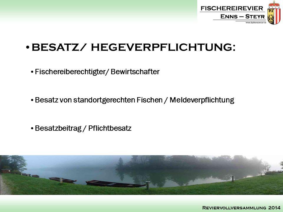 BESATZ/ HEGEVERPFLICHTUNG: