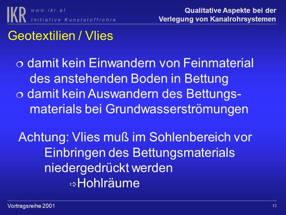 Geotextilien / Vlies damit kein Einwandern von Feinmaterial des anstehenden Boden in Bettung.