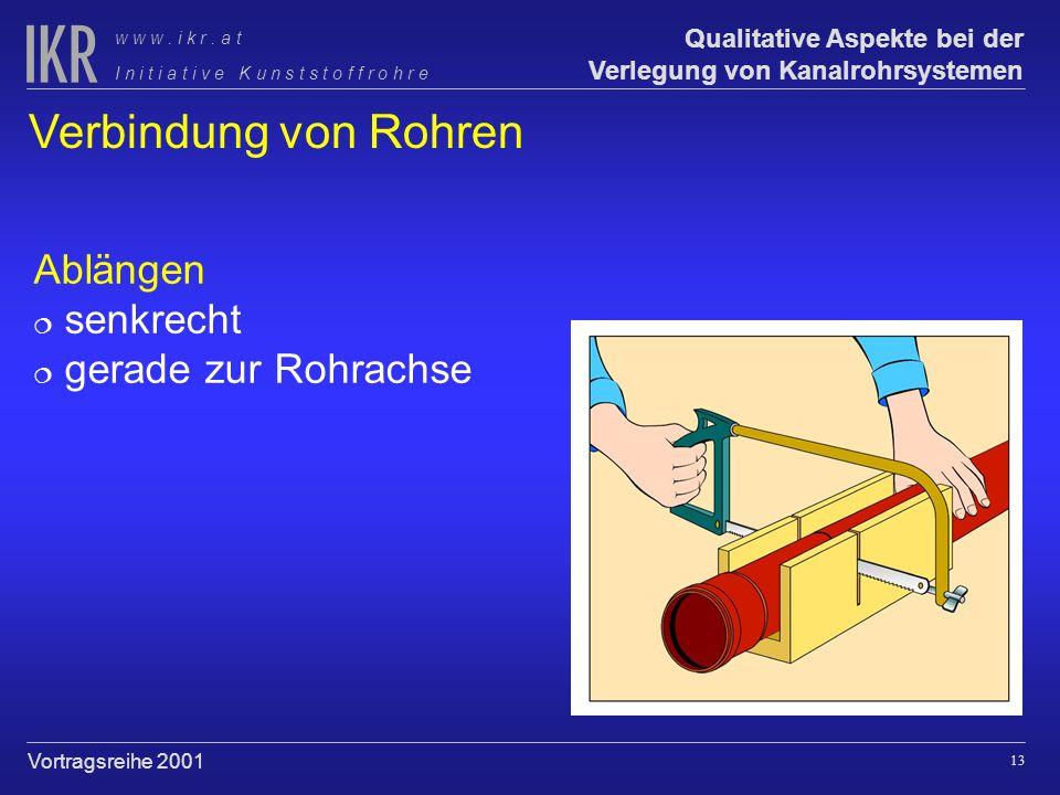 Verbindung von Rohren Ablängen senkrecht gerade zur Rohrachse