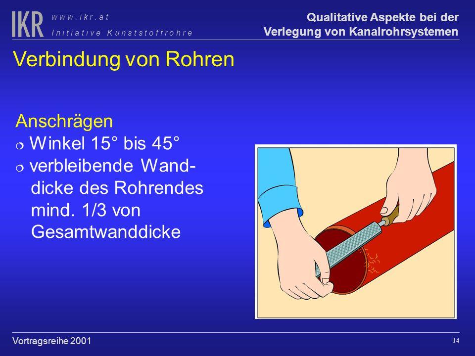 Verbindung von Rohren Anschrägen Winkel 15° bis 45° verbleibende Wand-