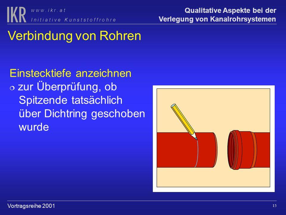 Verbindung von Rohren Einstecktiefe anzeichnen zur Überprüfung, ob