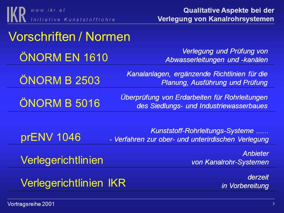 Vorschriften / Normen ÖNORM EN 1610 ÖNORM B 2503 ÖNORM B 5016