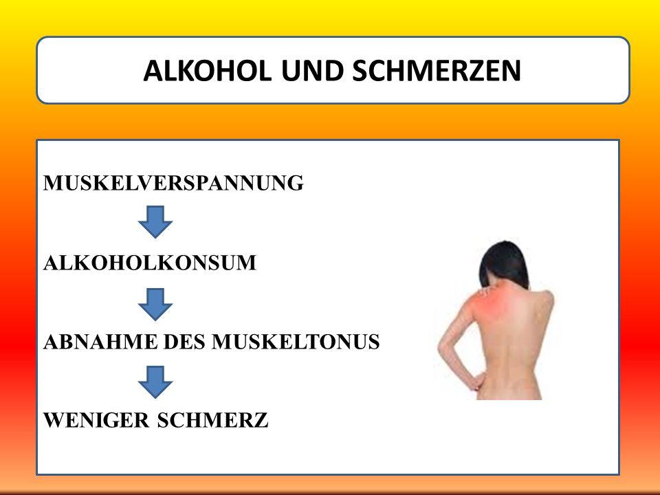 ALKOHOL UND SCHMERZEN MUSKELVERSPANNUNG ALKOHOLKONSUM