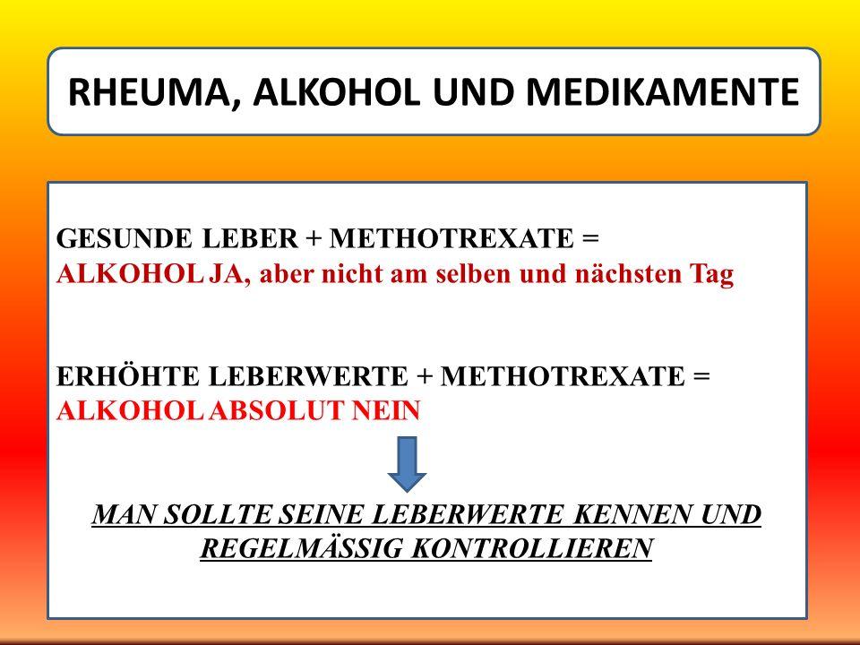 RHEUMA, ALKOHOL UND MEDIKAMENTE