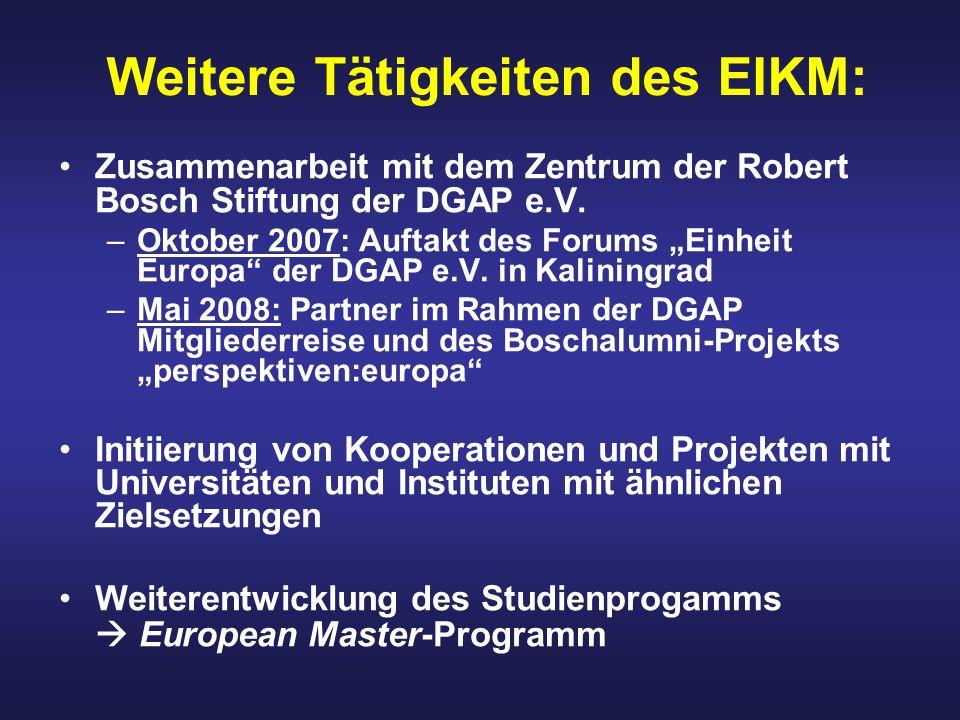 Weitere Tätigkeiten des EIKM: