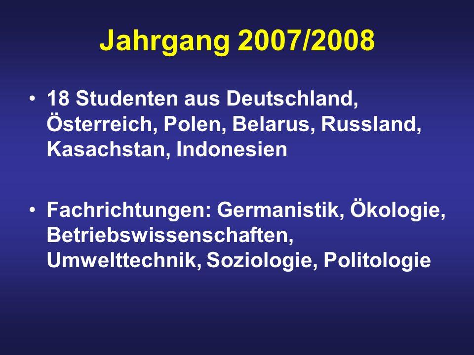 Jahrgang 2007/2008 18 Studenten aus Deutschland, Österreich, Polen, Belarus, Russland, Kasachstan, Indonesien.