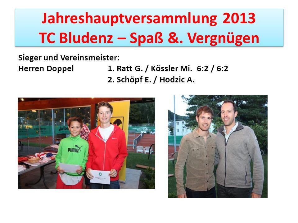Jahreshauptversammlung 2013 TC Bludenz – Spaß &. Vergnügen