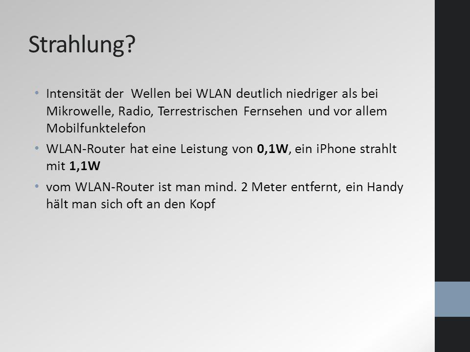 Strahlung Intensität der Wellen bei WLAN deutlich niedriger als bei Mikrowelle, Radio, Terrestrischen Fernsehen und vor allem Mobilfunktelefon.