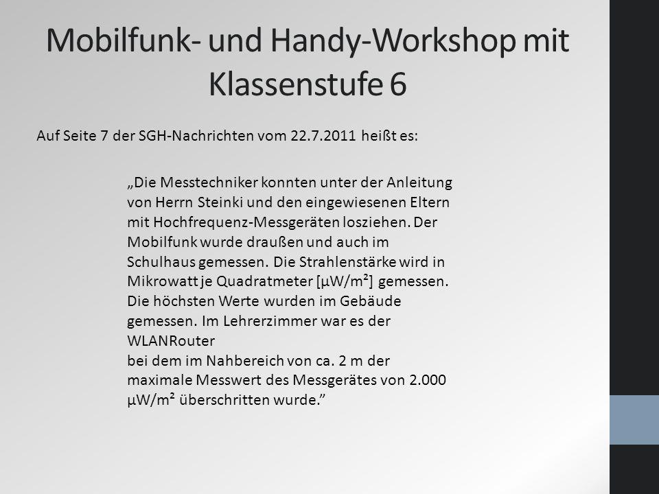 Mobilfunk- und Handy-Workshop mit Klassenstufe 6