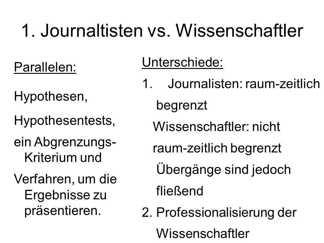 1. Journaltisten vs. Wissenschaftler